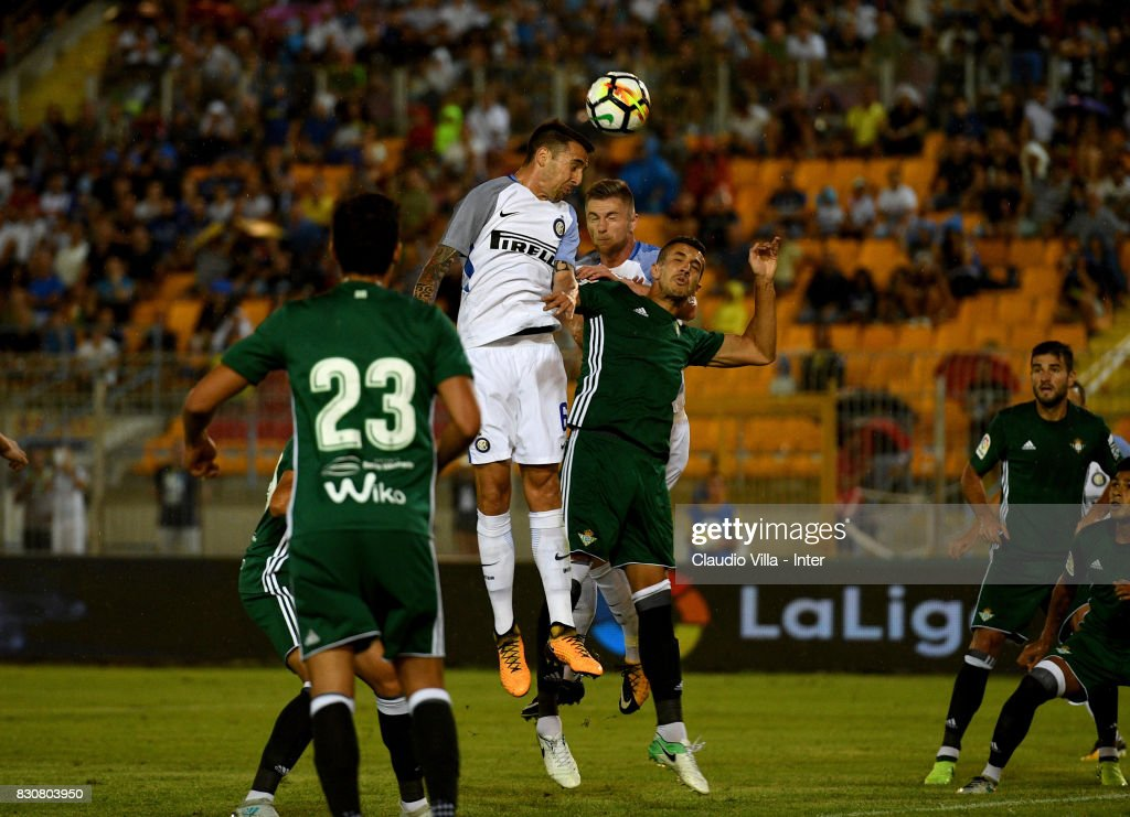 Matias Vecino of FC Internazionale in action during the Pre-Season Friendly match between FC Internazionale and Real Betis at Stadio Via del Mare on August 12, 2017 in Lecce, Italy.