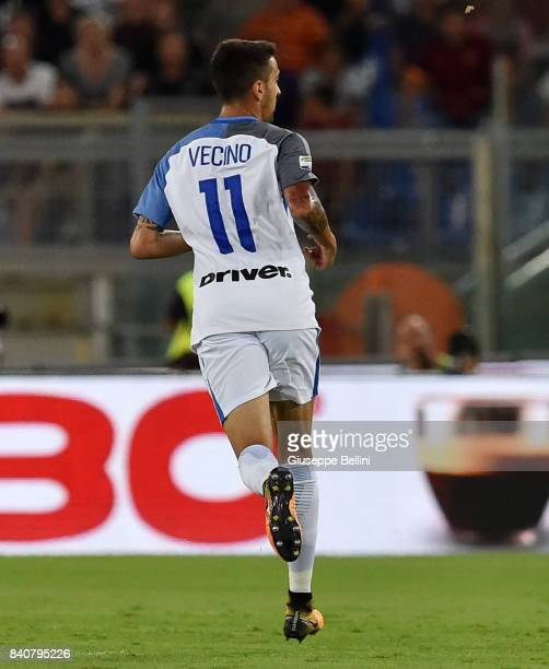 Matias Vecino of FC Internazionale in action during the Serie A match between AS Roma and FC Internazionale at Stadio Olimpico on August 26 2017 in...