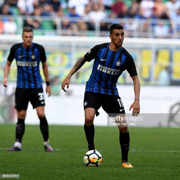 Matias Vecino of FC Internazionale in action during the Serie A match between FC Internazionale and Genoa CFC at Stadio Giuseppe Meazza on September...