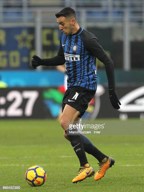 Matias Vecino of FC Internazionale in action during the Serie A match between FC Internazionale and Udinese Calcio at Stadio Giuseppe Meazza on...