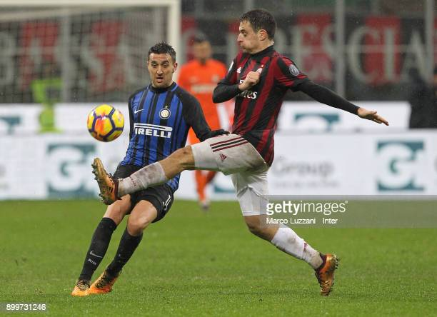 Matias Vecino of FC Internazionale is challenged by Giacomo Bonaventura of AC Milan during the TIM Cup match between AC Milan and FC Internazionale...