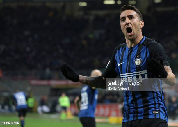 Matias Vecino of FC Internazionale Milano celebrates his goal during the Serie A match between FC Internazionale and AS Roma at Stadio Giuseppe...
