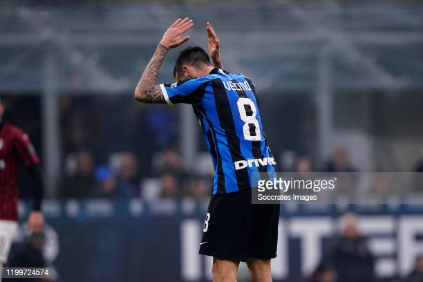 Matias Vecino of FC Internazionale Milano during the Italian Serie A match between Internazionale v AC Milan at the San Siro on February 9 2020 in...