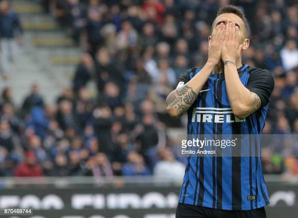 Matias Vecino of FC Internazionale Milano reacts after misses a chance of goal during the Serie A match between FC Internazionale and Torino FC at...