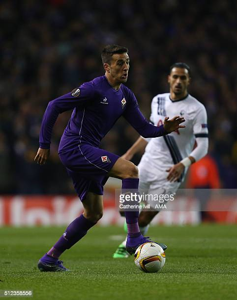 Matias Vecino of Fiorentina during the UEFA Europa League match between Tottenham Hotspur and Fiorentina at White Hart Lane on February 25 2016 in...