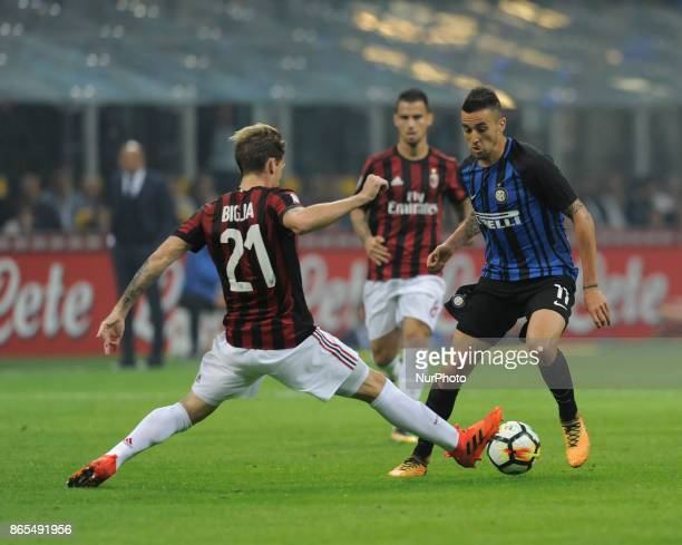 Matias Vecino of Inter player and Lucas Biglia of Milan player during the match valid for Italian Football Championships Serie A 20172018 between FC...