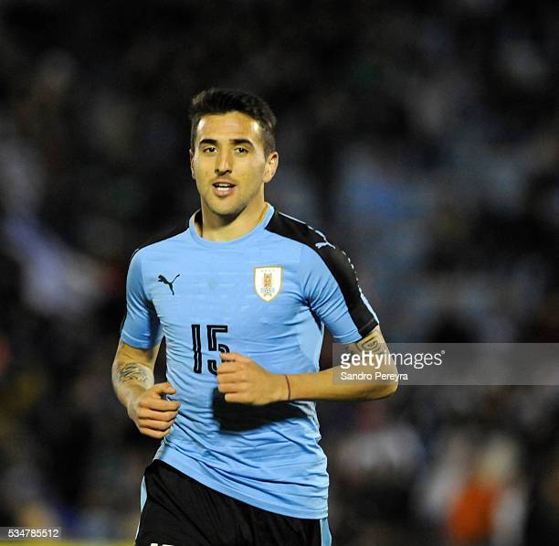 Matias Vecino of Uruguay celebrates after scoring his team's third goal during an international friendly match between Uruguay and Trinidad Tobago at...
