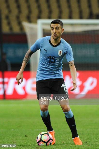 Matias Vecino of Uruguay drives the ball during the 2018 China Cup International Football Championship match between Uruguay and Czech Republic at...