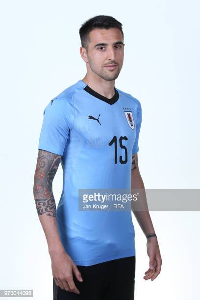 Matias Vecino of Uruguay poses for a portrait during the official FIFA World Cup 2018 portrait session at Borsky Sport Centre on June 12 2018 in...