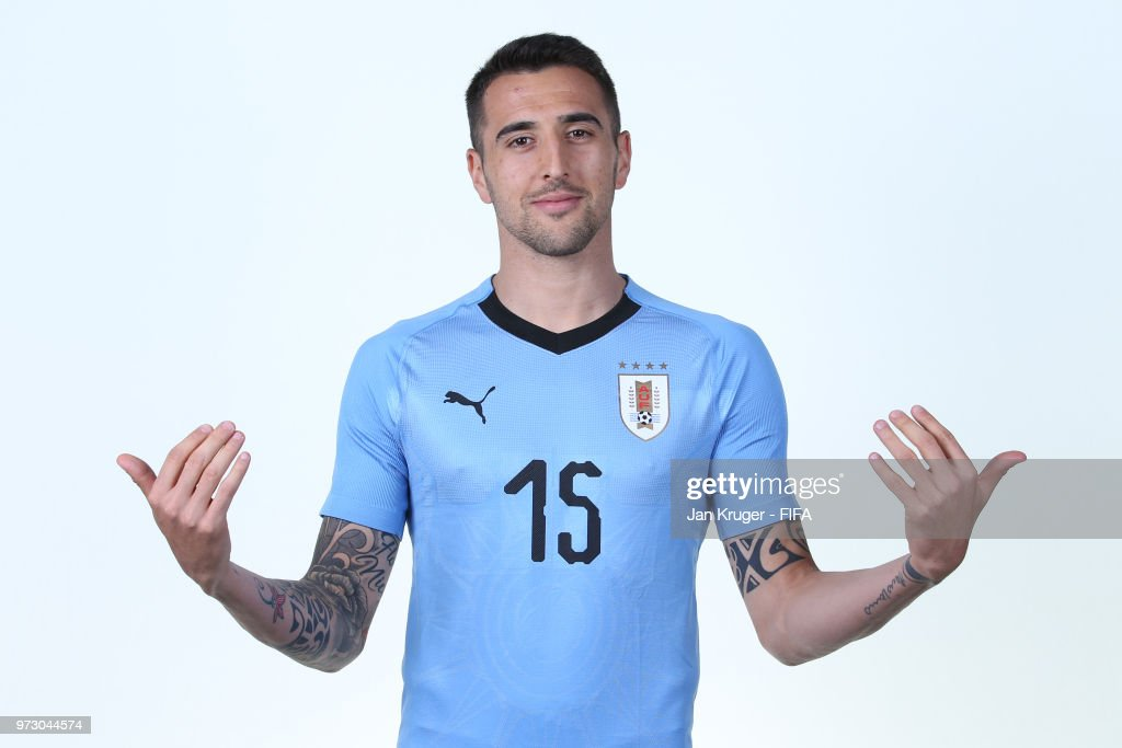 Matias Vecino of Uruguay poses for a portrait during the official FIFA World Cup 2018 portrait session at Borsky Sport Centre on June 12, 2018 in Nizhniy Novgorod, Russia.