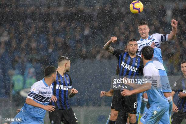 Matias Vecino Sergej MilinkovicSavic during the Italian Serie A football match between SS Lazio and Inter at the Olympic Stadium in Rome on october...