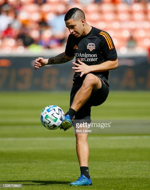 Matias Vera of Houston Dynamo warms up before playing the Los Angeles Galaxy at BBVA Stadium on February 29 2020 in Houston Texas