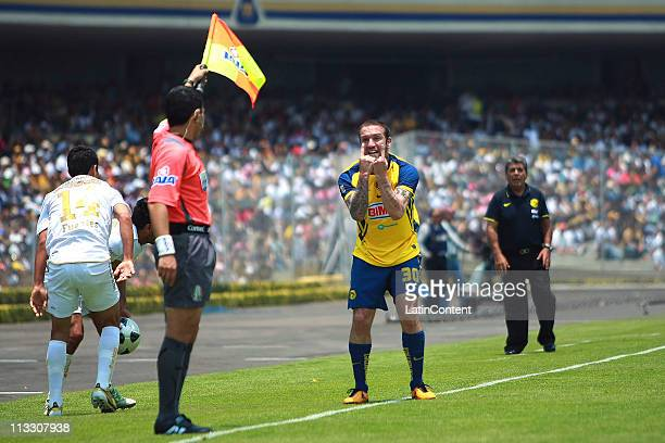 Matias Vuoso of America reacts during their match as part of the Clausura 2011 at Olympic Stadium on May 1 2011 in Mexico City Mexico