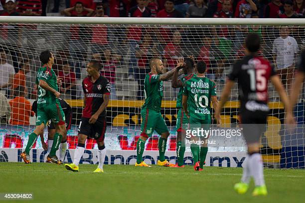 Matias Vuoso of Chiapas celebrates after scoring a goal against Atlas during a match between Atlas and Chiapas as part of 3rd round Apertura 2014...