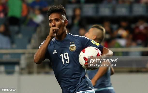 Matias Zaracho of Argentina celebrates scoring their third goal during the FIFA U20 World Cup Korea Republic 2017 group A match between Guinea and...