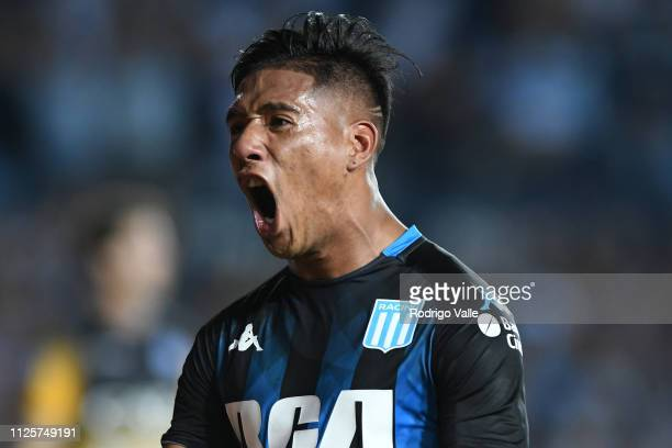 Matias Zaracho of Racing Club celebrates after scoring the second goal of his team during a match between Racing Club and Godoy Cruz as part of...