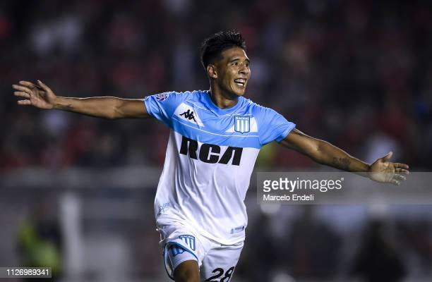 Matias Zaracho of Racing Club celebrates after scoring the third goal of his team during a match between Independiente and Racing Club as part of...