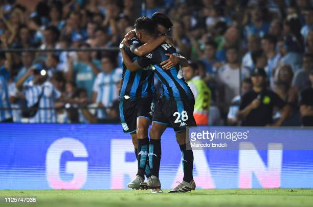 Matias Zaracho of Racing Club celebrates with teammate after scoring the second goal of his team during a match between Racing Club and Godoy Cruz at...