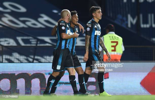 Matias Zaracho of Racing Club celebrates with teammates after scoring the third goal of his team during a match between Racing Club and Godoy Cruz at...