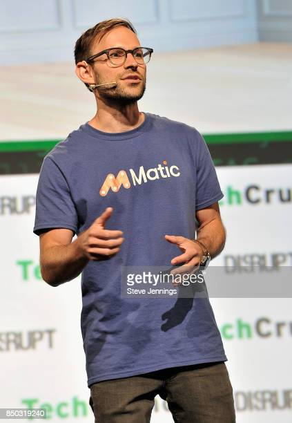 Matic CoFounder and CEO Aaron Schiff participates in the Startup Battlefield finals during TechCrunch Disrupt SF 2017 at Pier 48 on September 20 2017...
