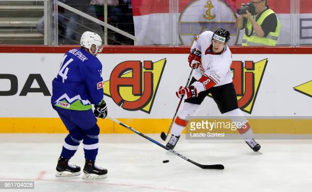 Matic Podlipnik of Slovenia competes for the puck with Vilmos Gallo of Hungary during the 2018 IIHF Ice Hockey World Championship Division I Group A...