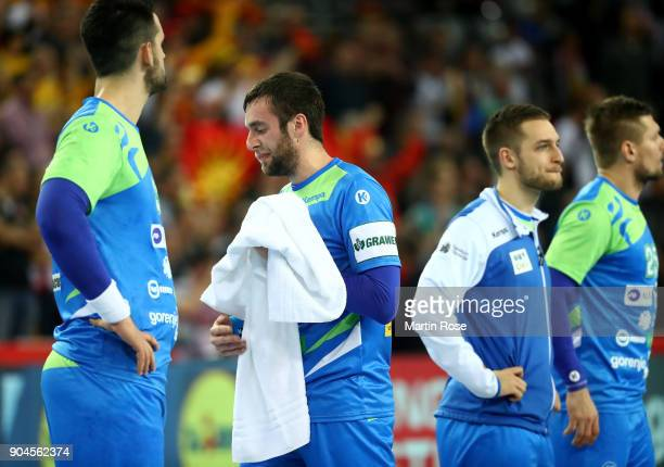 Matic Verdinek of Slovenia looks dejected after the Men's Handball European Championship Group C match between Macedonia and Slovenia at Arena Zagreb...