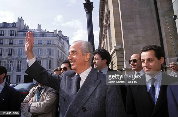 Matignon Edouard Balladur Prime Minister in Paris France on April 02 1993 with Nicolas Sarkozy
