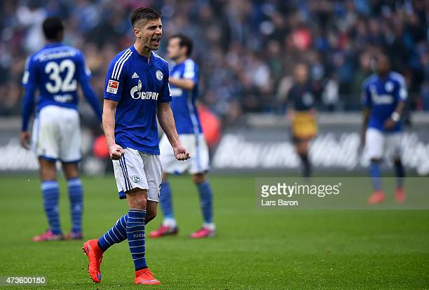 Matija Nastasic and goalkeeper Ralf Fahrmann of Schalke 04 celebrate after winning the Bundesliga match between FC Schalke 04 and SC Paderborn at...