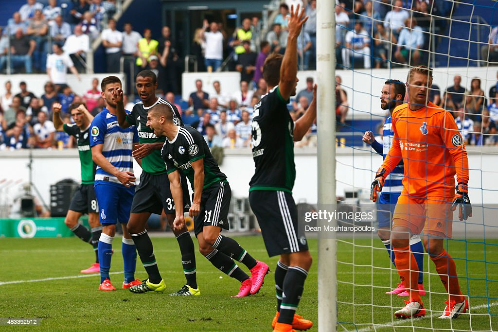 Matija Nastasic #31 of FC Schalke 04 celebrates scoring his teams second goal of the game during the DFB Cup match between MSV Duisburg and FC Schalke 04 held at Schauinsland-Reisen-Arena on August 8, 2015 in Duisburg, Germany.