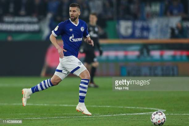 Matija Nastasic of FC Schalke 04 controls the ball during the DFB Cup quarterfinal match between FC Schalke 04 and Werder Bremen at VeltinsArena on...