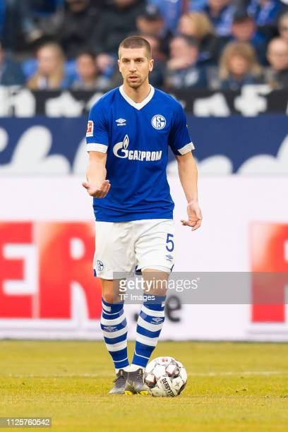 Matija Nastasic of FC Schalke 04 controls the ball during the Bundesliga match between FC Schalke 04 and SC Freiburg at VeltinsArena on February 16...