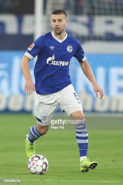Matija Nastasic of FC Schalke 04 controls the ball the ball during the Bundesliga match between FC Schalke 04 and 1 FC Nuernberg at VeltinsArena on...