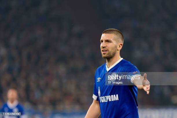 Matija Nastasic of FC Schalke 04 gestures during the UEFA Champions League Round of 16 First Leg match between FC Schalke 04 and Manchester City at...