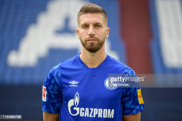 Matija Nastasic of FC Schalke 04 poses during the team presentation at VeltinsArena on July 10 2019 in Gelsenkirchen Germany