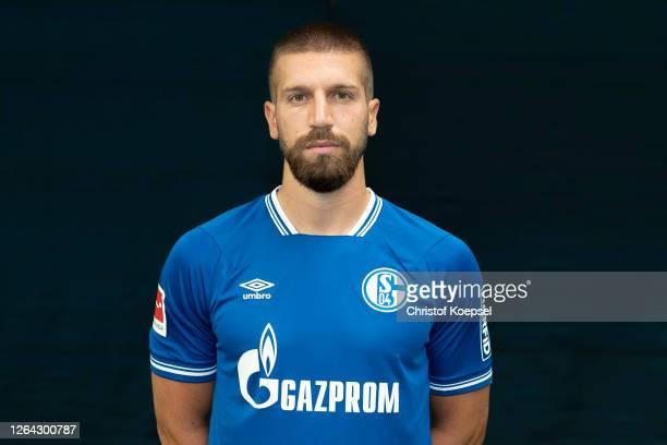 Matija Nastasic of FC Schalke 04 poses during the team presentation at Football Hall on August 06 2020 in Gelsenkirchen Germany