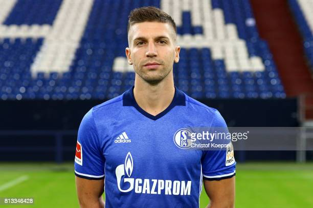 Matija Nastasic of FC Schalke 04 poses during the team presentation at Veltins Arena on July 12 2017 in Gelsenkirchen Germany