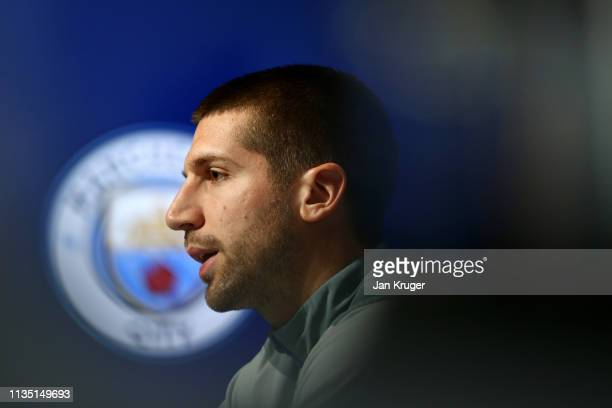 Matija Nastasic of FC Schalke 04 speaks to the media during a press conference ahead of their UEFA Champions League Round of 16 second leg match...
