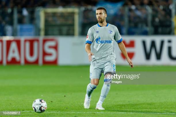 Matija Nastasic of FC Schalke controls the ball during the Bundesliga match between SportClub Freiburg and FC Schalke 04 at SchwarzwaldStadion on...