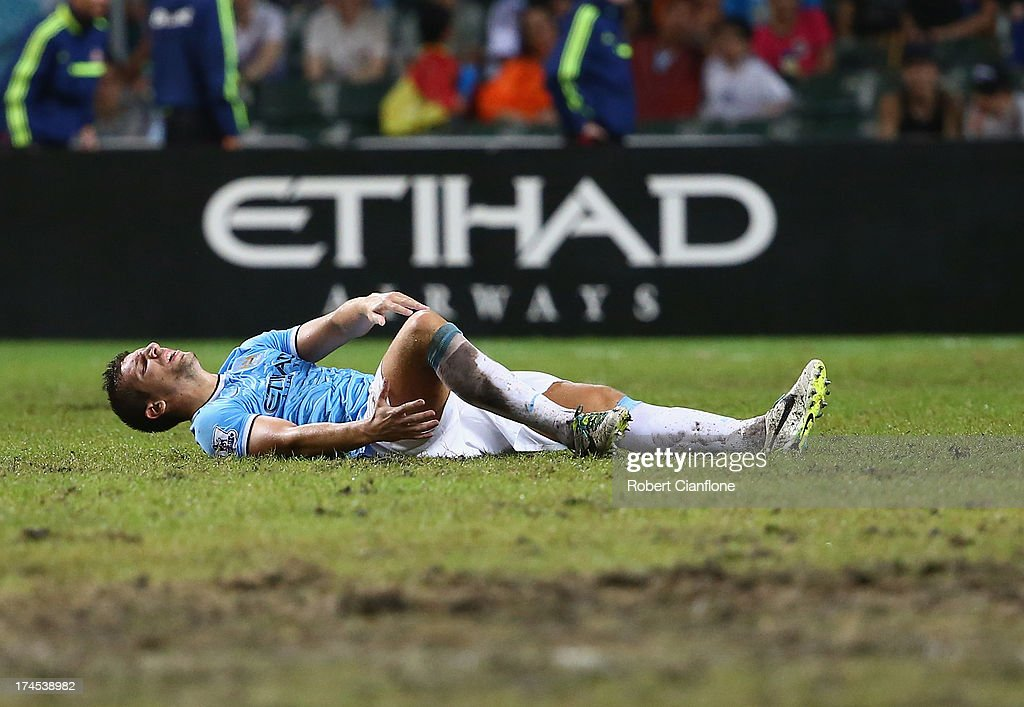 Matija Nastasic of Mancester City suffers an injury during the Barclays Asia Trophy Final match between Manchester City and Sunderland at Hong Kong Stadium on July 27, 2013 in So Kon Po, Hong Kong.