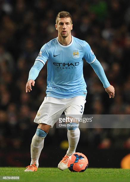 Matija Nastasic of Manchester City in action during the Budweiser FA Cup Third Round Replay match between Manchester City and Blackburn Rovers at the...