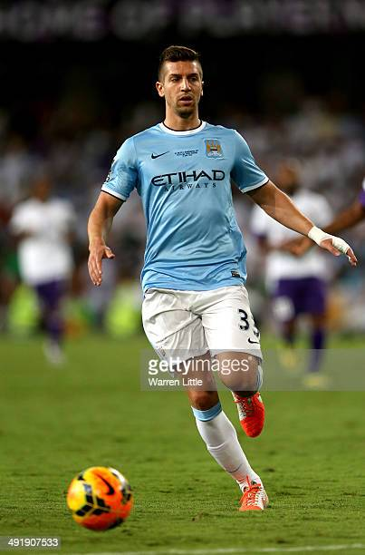 Matija Nastasic of Manchester City in action during the friendly match between Al Ain and Manchester City at Hazza bin Zayed Stadium on May 15 2014...