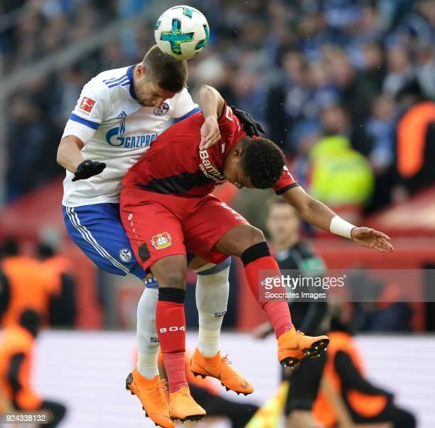 Matija Nastasic of Schalke 04 Leon Bailey of Bayer Leverkusen during the German Bundesliga match between Bayer Leverkusen v Schalke 04 at the...