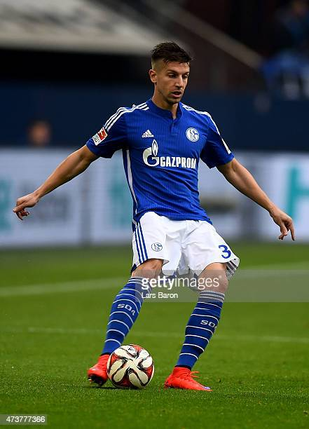 Matija Nastasic of Schalke 04 runs with the ball during the Bundesliga match between FC Schalke 04 and SC Paderborn at Veltins Arena on May 16 2015...