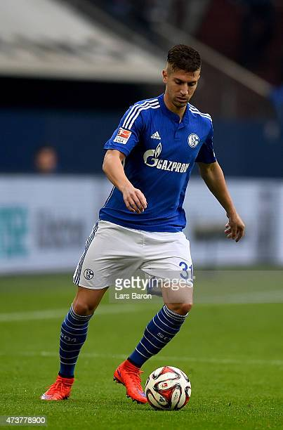 Matija Nastasic of Schalke 04 runs with the ball during the Bundesliga match between FC Schalke 04 and SC Paderborn at Veltins Arena on May 16 2015...