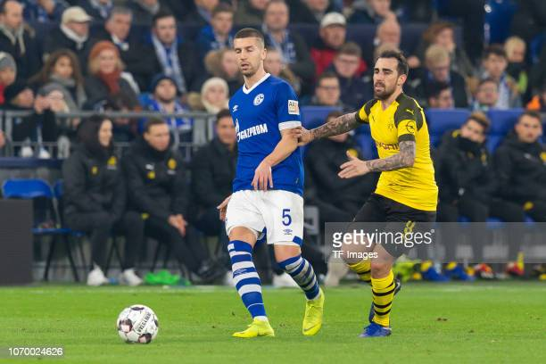 Matija Nastasic of Schalke and Paco Alcacer of Dortmund battle for the ball during the Bundesliga match between FC Schalke 04 and Borussia Dortmund...