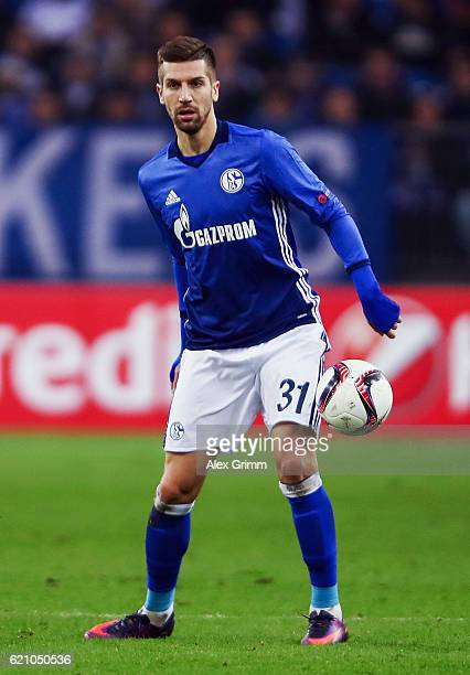 Matija Nastasic of Schalke controles the ball during the UEFA Europa League Group I match between FC Schalke 04 and FC Krasnodar VeltinsArena on...