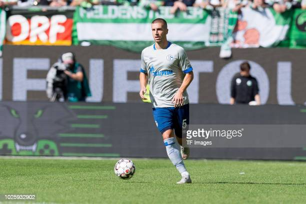 Matija Nastasic of Schalke controls the ball during the Bundesliga match between VfL Wolfsburg and FC Schalke 04 at Volkswagen Arena on August 25...