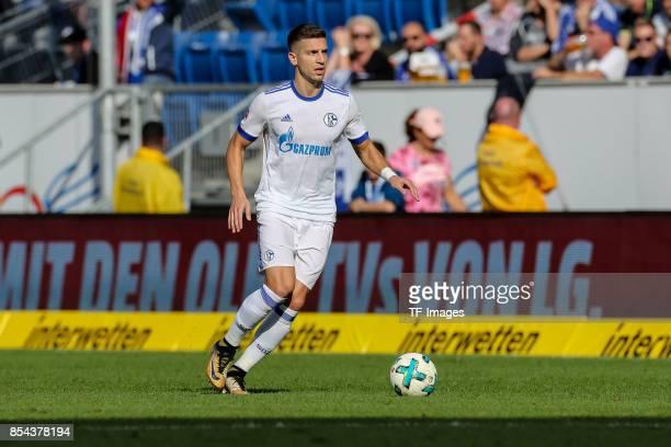 Matija Nastasic of Schalke controls the ball during the Bundesliga match between TSG 1899 Hoffenheim and FC Schalke 04 at Wirsol RheinNeckarArena on...