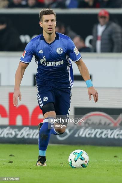 Matija Nastasic of Schalke controls the ball during the Bundesliga match between VfB Stuttgart and FC Schalke 04 at MercedesBenz Arena on January 27...