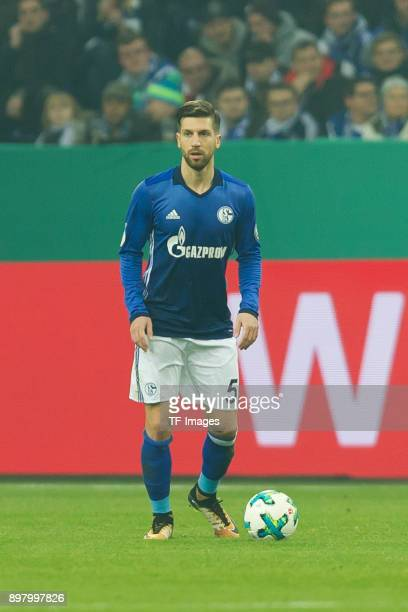 Matija Nastasic of Schalke controls the ball during the DFB Cup match between FC Schalke 04 and 1 FC Koeln at VeltinsArena on December 19 2017 in...